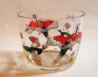 Vintage ice bucket - HAZEL ATLAS ice bucket - 1950's glass ice bucket - mid century barware - hunting scene barware - pheasants barware