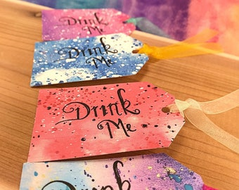 Alice in Wonderland Drink Me Tags Made-To-Order|Drink Me Tags|Drink Me|Alice in Wonderland Decorations|Drink Tags|Whimsical Tags|Tea Party