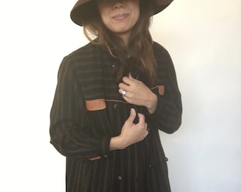 1970's Wool Coat With Leather Trim