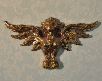 Vintage French Winged Claw Footed Lion Gargoyle Raw Brass Die Casting 1 Piece 548J