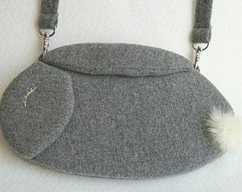 Wool rabbit bag clutch purse with detachable strap