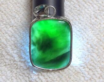 Pendant,  green semi precious stone with Silver