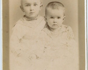 Russia Two little boys sailor suits brothers holding hands Vintage child photo Antique Cabinet Photo 1890s Cabinet Card Russia