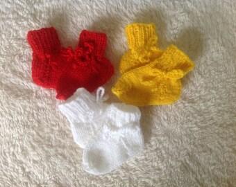 First socks, baby socks, newborn handmade knitted