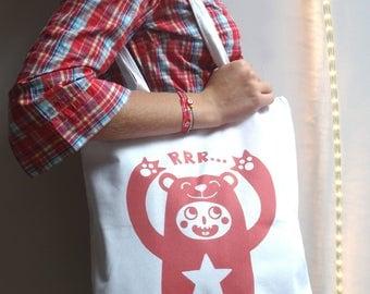 Tote Bag - Cotton white bear bag