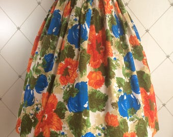 Gorgeous fifties bright coloured floral print skirt .