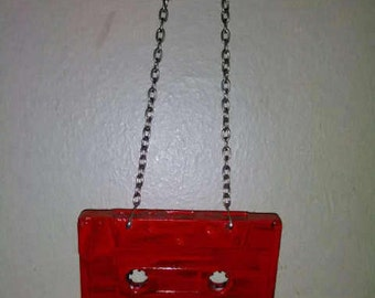 Retro Red Cassette Tape Necklace