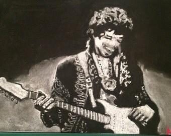 Jimi Hendrix, soft pastel painting