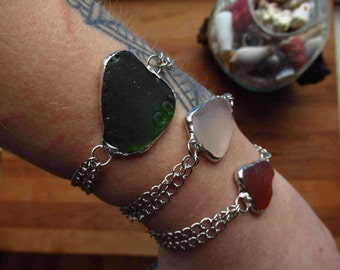 Unique sea glass bracelet , sea glass jewelry, chain bracelet, beach style,summer jewelry