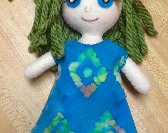 """8"""" Felt/fabric doll, green hair, aqua eyes"""