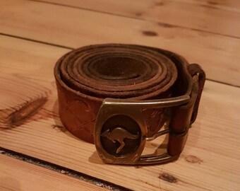 Australian kangaroo buckle vintage hand tooled leather belt