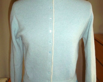 Vintage Women's Cardigan, Baby Blue, Size S/M