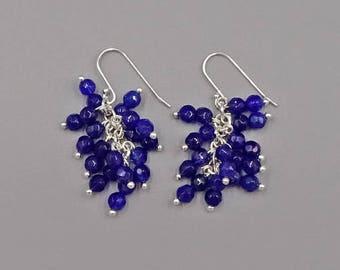 "1.5"" Lapis cluster earrings"