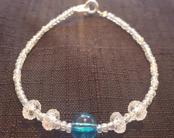 Clear Light Blue Bauble Accented with Sparkle Baubles and Pearlesque seed beads