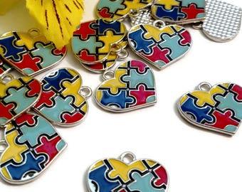 5 Pcs Autism Awareness Enamel Pendant Charms - Puzzle Inspirational Autistic