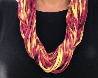 Hand made tie dye cotton necklace