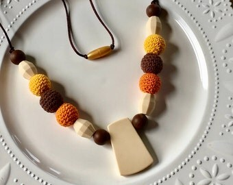 Mommy Tribe Teething / Nursing Sensory Necklace Silicone and Crochet Wood Brown, Orange , Yellow and Beige Mommy Chewelry