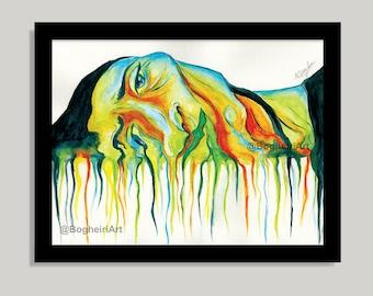 The Melltdown Wall Art Print, Watercolor Prints, Wall Decor, Surreal Painting, colorful painting