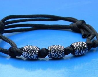 Silk Cord Beaded Adjustable Bracelet