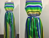 Green Striped Dress with Blue Yellow Navy & White - Sleeveless Maxi Dress, Pocket, Sash Tie Belt - Vintage Concept 70s Swirl - Medium Large