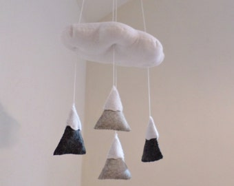 Baby mobile - gender neutral shades of grey and white - cloud and mountain nursery