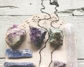 Moonchild...Box set, crystals, Moonstone necklace, amethyst, kyanite, Lepidolite, Moss Tree Agate , fluorite, boho, earthchild FREE SHIPPING