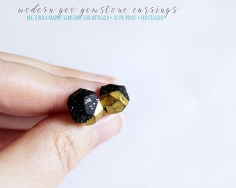 Matte Black Studs with Silver and Gold Sparkles, Gold Dipped Geo Gemstone Earrings, Modern Geometric Earrings, Gifts Under 20