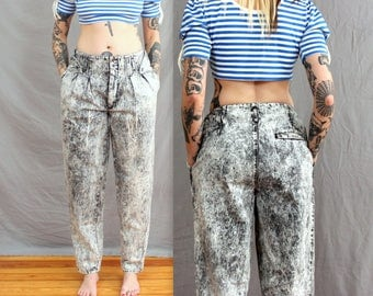1980's Black and White Acid Wash Denim Jeans in Size Large . Pleated Oversized Pants . Authentic Vintage 80s Sale