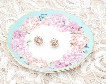 Champagne Earrings / Rose Gold Earrings / Starburst Earrings / Bridesmaid Earrings / Champagne Bridesmaid