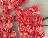 120 Deep Coral Paper Flowers - mini - Wedding Invitations scrapbooking paper goods