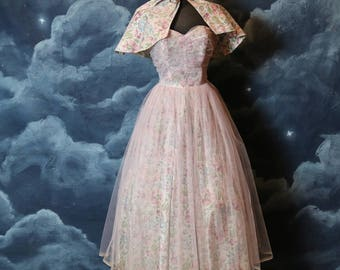 Vintage 1950s 2 Piece Set Floral Strapless Tulle Dress with Capelet - Size X Small