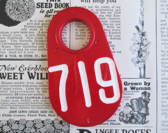 Vintage Red Doublesided Cow Tag #719