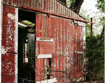 Old Weathered Red Barn Photograph - Open Barn Door 5x7 Photo Art - Abandoned Building Photo - Dilapidated Barn Art - Liberty Images Photo