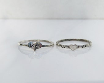 Two - Sterling Silver Heart - Love - Thin Band stackable Rings - Size 5.5       1181