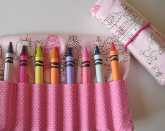 Paris Eiffel Tower Crayon Roll Wallet  Includes 8 Crayons