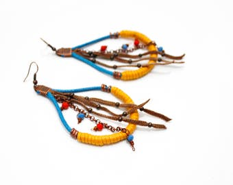 Tribal earrings,Native princess inspired earrings,Pocahontas inspired earrings,boho earrings,fiber earrings,drop earrings,yellow earrings