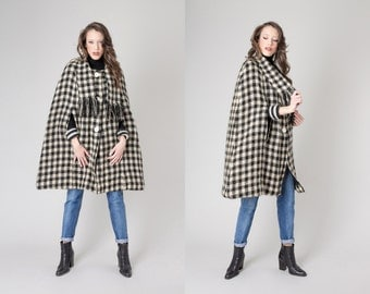 HOUNDSTOOTH CAPE wool mohair vintage Sweater Jacket Cardigan black cream / Free Size / fall winter better Stay together