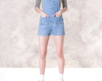 OVERALL shorts DENIM jean 90S PLAYSUIT romper vintage women Small Xs spring summer overalls / Better Stay Together