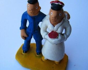 Brazilian Folk Art Wedding Couple in Clay, Cake Topper