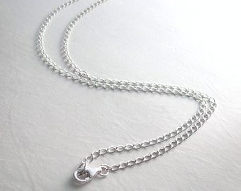 Sterling Silver Choker Necklace, 14 inch Choker Chain, Plain Silver Chain, Short Curb Chain Necklace for Men & Women