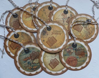 Travel tags, party favor tags, vintage style, bon voyage, antique maps, hand stamped, suitcase, enjoy the journey - set of 10