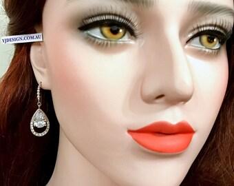 Cz Bridal Earrings, Cz Drop Wedding Earrings, Teardrop Bridal Jewelry, Swarovski Crystal Wedding Jewelry, Gold or Silver Earrings, AMELIA