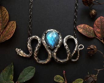Snake Necklace - Sterling Silver with Labradorite Stone - Inspired by Garden Snakes - Made by Jamie Spinello