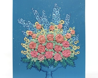 Floral Rose Painting with Textured Flowers, Sculpted Canvas Art Still Life in Blue and Peach - 16x20