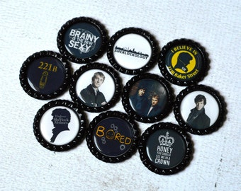 Sherlock Holmes Magnets- Sherlock Bottlecap Magnets- Sherlock Gift- Sherlock Fan- Fandom Gift- 221 B Baker Street- Kitchen or Office Magnets