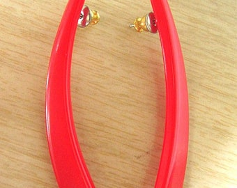 Vintage 80s Red Abstract Long Earrings with Black Accent