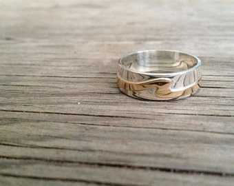 Men's Wave Ring, Wedding Band in Sterling Silver and 10kt Yellow Gold Wave - Wave Ring Collection
