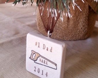 Personalized Dad Christmas Ornament - For the Carpenter Handyman - Saw Design - Gift Box