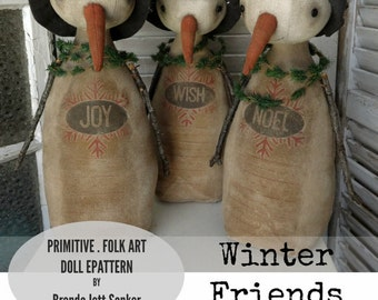EPATTERN -  Winter Friends Snowfolk primitive folk art doll epattern