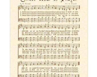 SWEET HOUR Of PRAYER - Hymn Art - Custom Christian Home Decor - VintageVerses Sheet Music - Inspirational Wall Art- Sepia- Natural Parchment